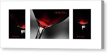 In Vino Veritas. White Framed Triptych Canvas Print by Jenny Rainbow