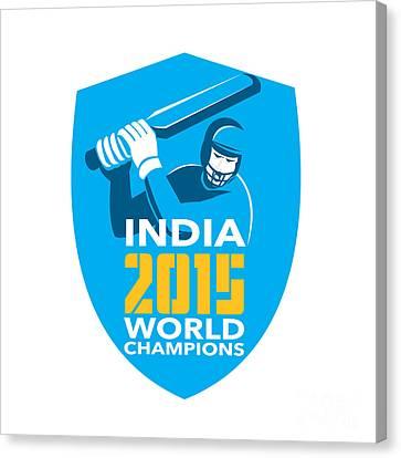 India Cricket 2015 World Champions Shield Canvas Print by Aloysius Patrimonio