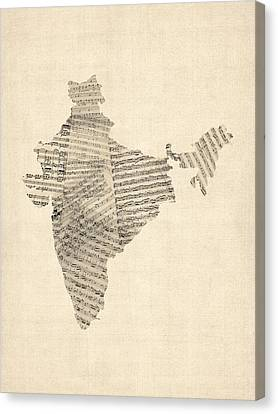 India Map, Old Sheet Music Map Of India Canvas Print by Michael Tompsett