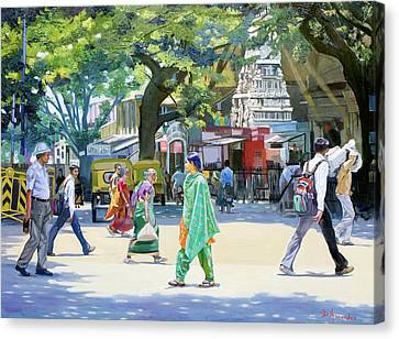 India Street Scene 2 Canvas Print by Dominique Amendola