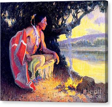 Indian By The Fire Canvas Print by Roberto Prusso