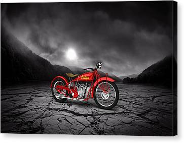 Indian Scout 1928 Mountains Canvas Print by Aged Pixel