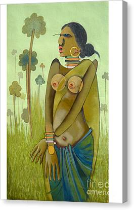 Indian Woman Canvas Print by Praveen Dhenge