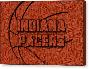 Indiana Pacers Leather Art Canvas Print by Joe Hamilton