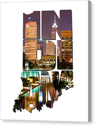 Indiana Typography - Indianapolis Skyline - Canal Walk Bridge View Canvas Print by Gregory Ballos