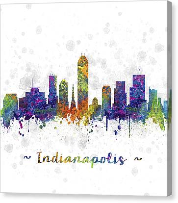 Indianapolis Indiana Skyline Color 03sq Canvas Print by Aged Pixel