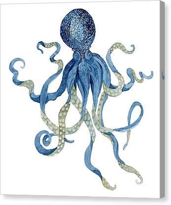 Indigo Ocean Blue Octopus  Canvas Print by Audrey Jeanne Roberts