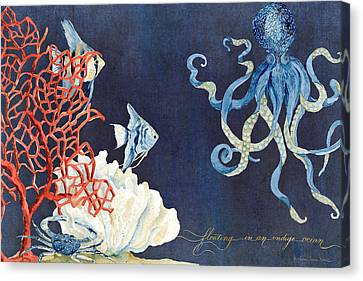 Indigo Ocean - Floating Octopus Canvas Print by Audrey Jeanne Roberts