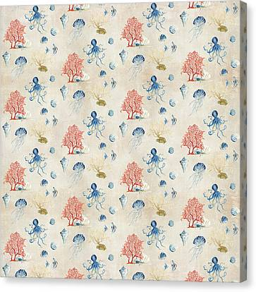 Indigo Ocean - Red Coral Octopus Half Drop Pattern Small Canvas Print by Audrey Jeanne Roberts