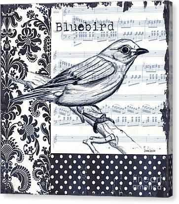 Indigo Vintage Songbird 1 Canvas Print by Debbie DeWitt