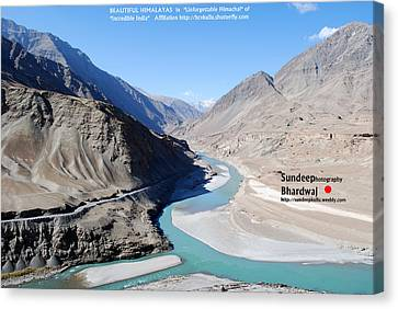 Indus River Sangam Or Meeting Point In Himalayas Of Incredible India Canvas Print by Sundeep Bhardwaj Kullu sundeepkulluDOTcom