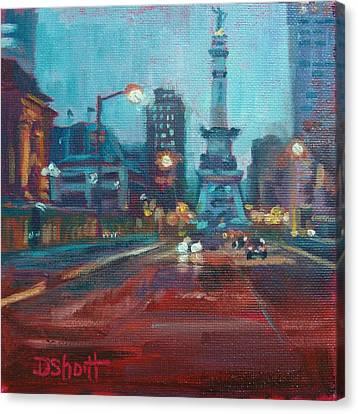 Indy Circle Night Canvas Print by Donna Shortt