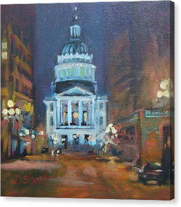 Indy Government Night Canvas Print by Donna Shortt