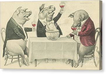 Ine Food And Song With Boars Canvas Print by Artist from the past