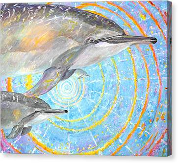 Infinite Dolphin Universe Canvas Print by Tamara Tavernier