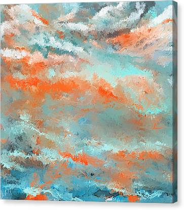 Infused Energy- Turquoise And Orange Art Canvas Print by Lourry Legarde