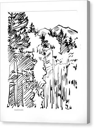 Ink Sketch Of Rocky Mountains Canvas Print by John Lautermilch