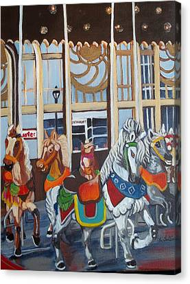 Inside The Carousel House Canvas Print by Norma Tolliver