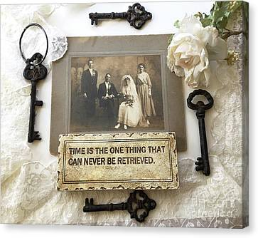 Inspirational Art - Vintage Wedding Photo With Antique Keys - Inspirational Vintage Black Keys Art  Canvas Print by Kathy Fornal