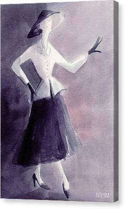 Inspired By Christian Dior Fashion Illustration Art Print Canvas Print by Beverly Brown Prints