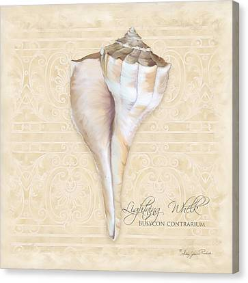 Inspired Coast 3 - Lightning Whelk Shell Busycon Contrarium Canvas Print by Audrey Jeanne Roberts