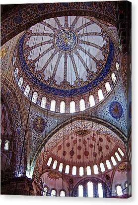 Interior Domes Of The Blue Mosque Canvas Print by Rachel Morrison
