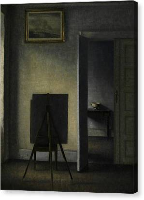 Interior With The Artist's Easel Canvas Print by Vilhelm Hammershoi