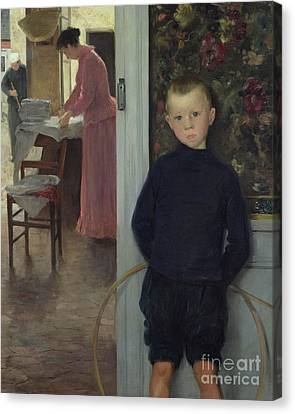 Interior With Women And A Child Canvas Print by Paul Mathey