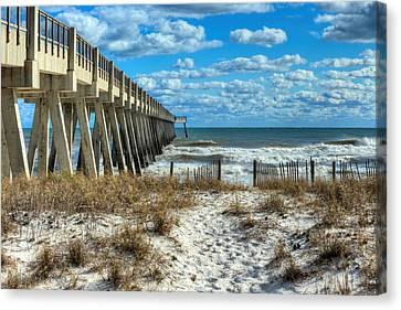 Into The Gulf At Navarre Beach Canvas Print by JC Findley
