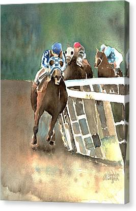 Into The Stretch And Headed For Home-secretariat Canvas Print by Arline Wagner