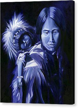 Inuit Mother And Child Canvas Print by Nancy Griswold