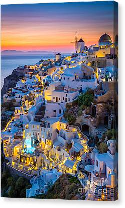 Oia Sunset Canvas Print by Inge Johnsson