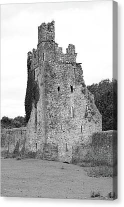 Ireland Kells Priory Seven Towers Medieval Castle Tower House Ruin County Kilkenny Black And White Canvas Print by Shawn O'Brien