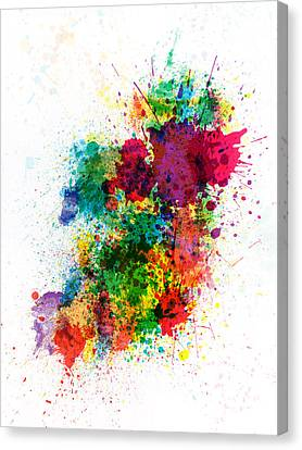 Ireland Map Paint Splashes Canvas Print by Michael Tompsett