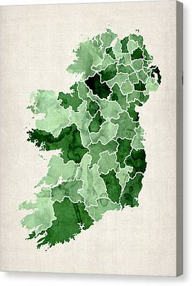 Ireland Watercolor Map Canvas Print by Michael Tompsett