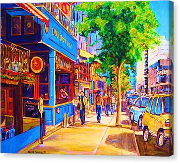 Irish Pub On Crescent Street Canvas Print by Carole Spandau