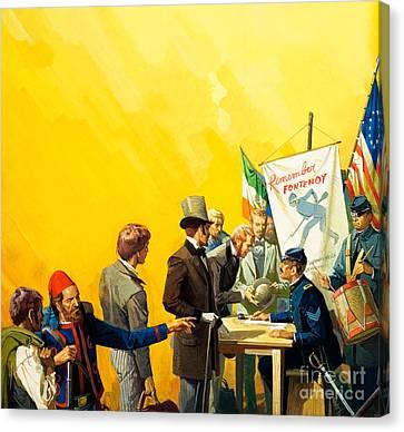 Irish Recruitment For The American Civil War Canvas Print by Severino Baraldi