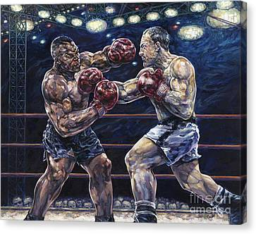 Iron Mike Vs. Rocky Canvas Print by Dennis Goff