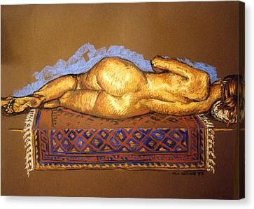Isabel On Afghan Carpet- Back Canvas Print by Paul Herman