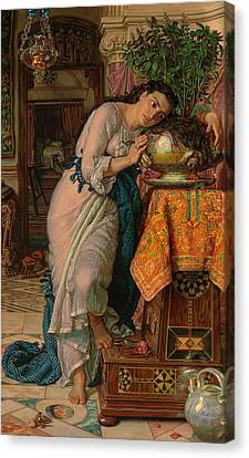 Isabella And The Pot Of Basil Canvas Print by William Holman Hunt