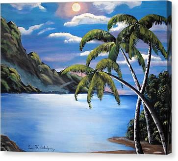 Island Night Glow Canvas Print by Luis F Rodriguez