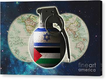 Israel And Palestine Conflict Canvas Print by George Mattei