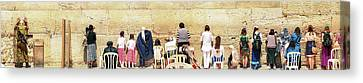 Israeli Soldier, Women And Children Praying At The Kotel, Jerusalem Canvas Print by Yoel Koskas