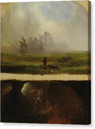 It Rains It Shines, The Devil Whipping His Wife Canvas Print by William Holbrook Beard