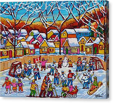 It Takes A Village Winter Playground Outdoor Hockey Rink Country Landscape Canadian Painting         Canvas Print by Carole Spandau