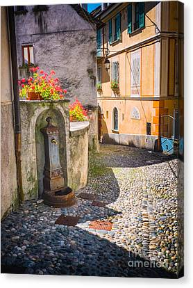 Italian Alley With Fountain Canvas Print by Silvia Ganora