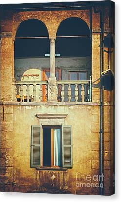 Italian Arched Balcony Canvas Print by Silvia Ganora