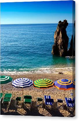 Italian Beach Scene Canvas Print by John Wong
