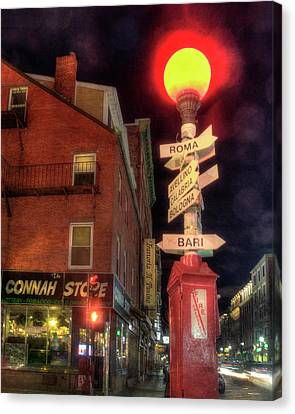 Italian Cities Sign - North End - Boston Canvas Print by Joann Vitali