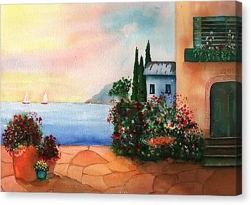 Italian Sunset Villa By The Sea Canvas Print by Sharon Mick